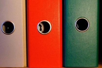 3色の厚みのあるファイルボックス