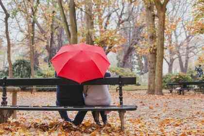 雨の中座る男女