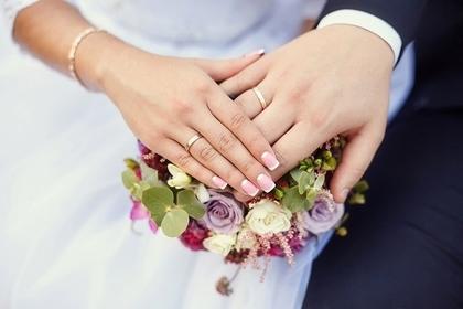 指輪と男女の手